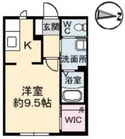 佐古一番町 アパート 1K間取り図