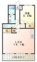 北田宮 アパート 2LDK 102間取り図