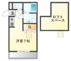 中島田町 アパート 1K間取り図