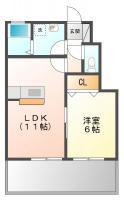 北田宮 アパート 1LDK間取り図
