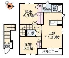 春日 アパート 2LDK間取り図