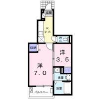 北島田町 アパート 1K間取り図
