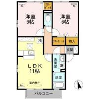 北矢三町 アパート 2LDK 2-101間取り図