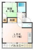 北島田 マンション 1LDK間取り図