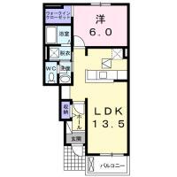 南島田町 アパート 1LDK間取り図