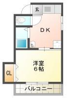 佐古三番町 アパート 1DK間取り図