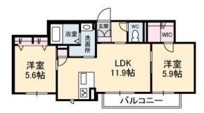 名東町 マンション 2LDK間取り図