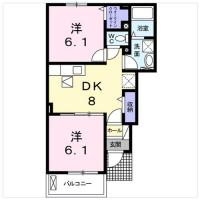 北矢三町 アパート 2DK間取り図