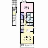 八万町柿谷 アパート 1LDK 201間取り図