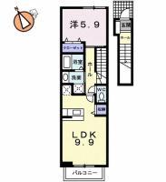 八万町夷山 アパート 1LDK 202間取り図