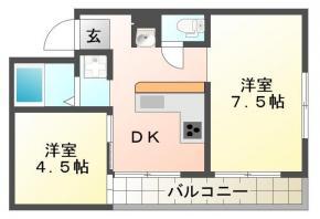 中昭和町 マンション 2DK間取り図