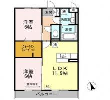 北矢三町 アパート 2LDK間取り図