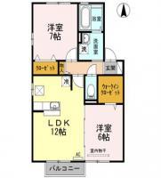 北田宮 アパート 2LDK間取り図