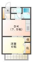 北島田町 アパート 1DK間取り図