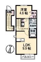 佐古四番町 アパート 1LDK間取り図