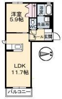 南庄町 アパート 1LDK 203間取り図