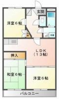 北田宮 マンション 3LDK間取り図