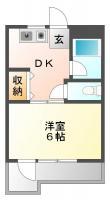 佐古三番町 マンション 1DK間取り図
