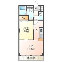 中吉野町 マンション 1LDK間取り図