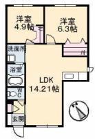 南田宮 アパート 2LDK間取り図