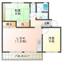 万代町 アパート 2LDK間取り図