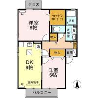 北田宮 アパート 2DK A101間取り図