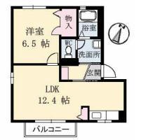 中吉野町 アパート 1LDK間取り図
