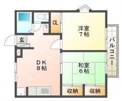 佐古4番町 アパート 2DK間取り図