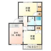 新浜本町 アパート 2DK間取り図