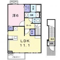 名東町 アパート 1LDK間取り図