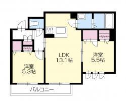 北島田 マンション 2LDK間取り図