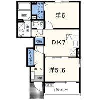 名東町 アパート 2DK間取り図