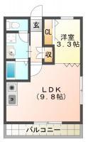 福島 マンション 1LDK間取り図