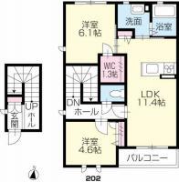 鮎喰町 アパート 2LDK間取り図