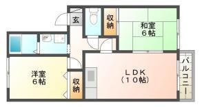 南沖洲1丁目 アパート 2LDK間取り図