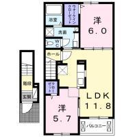 八万町柿谷 アパート 2LDK 202間取り図