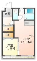 佐古二番町 マンション 1LDK間取り図