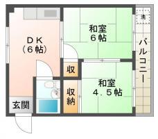 佐古五番町 マンション 2DK間取り図