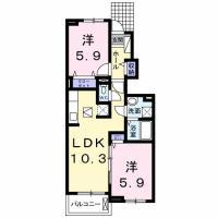北島田町 アパート 2LDK 103間取り図