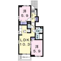 北島田町 アパート 2LDK間取り図