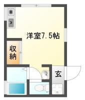 北田宮 アパート 1R間取り図
