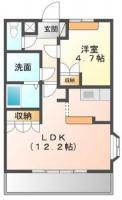 中島田町 アパート 1LDK 101間取り図