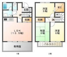 中吉野町 アパート 3LDK間取り図