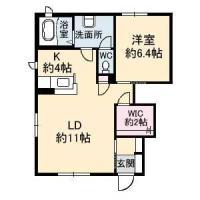 北島田町 アパート 1LDK間取り図