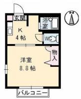 中前川町 アパート 1K間取り図
