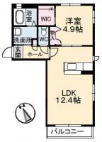 春日 アパート 1LDK間取り図