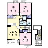 南庄町 アパート 3LDK間取り図
