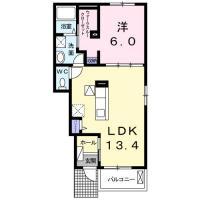 鮎喰町 アパート 1LDK間取り図