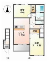 国府町観音寺 アパート 2LDK間取り図