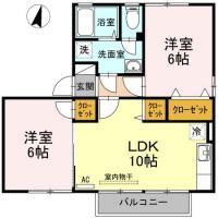 名東町 アパート 2LDK間取り図